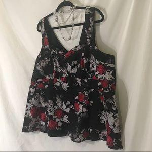 Torrid Red/black Floral Empire Sleeveless Top